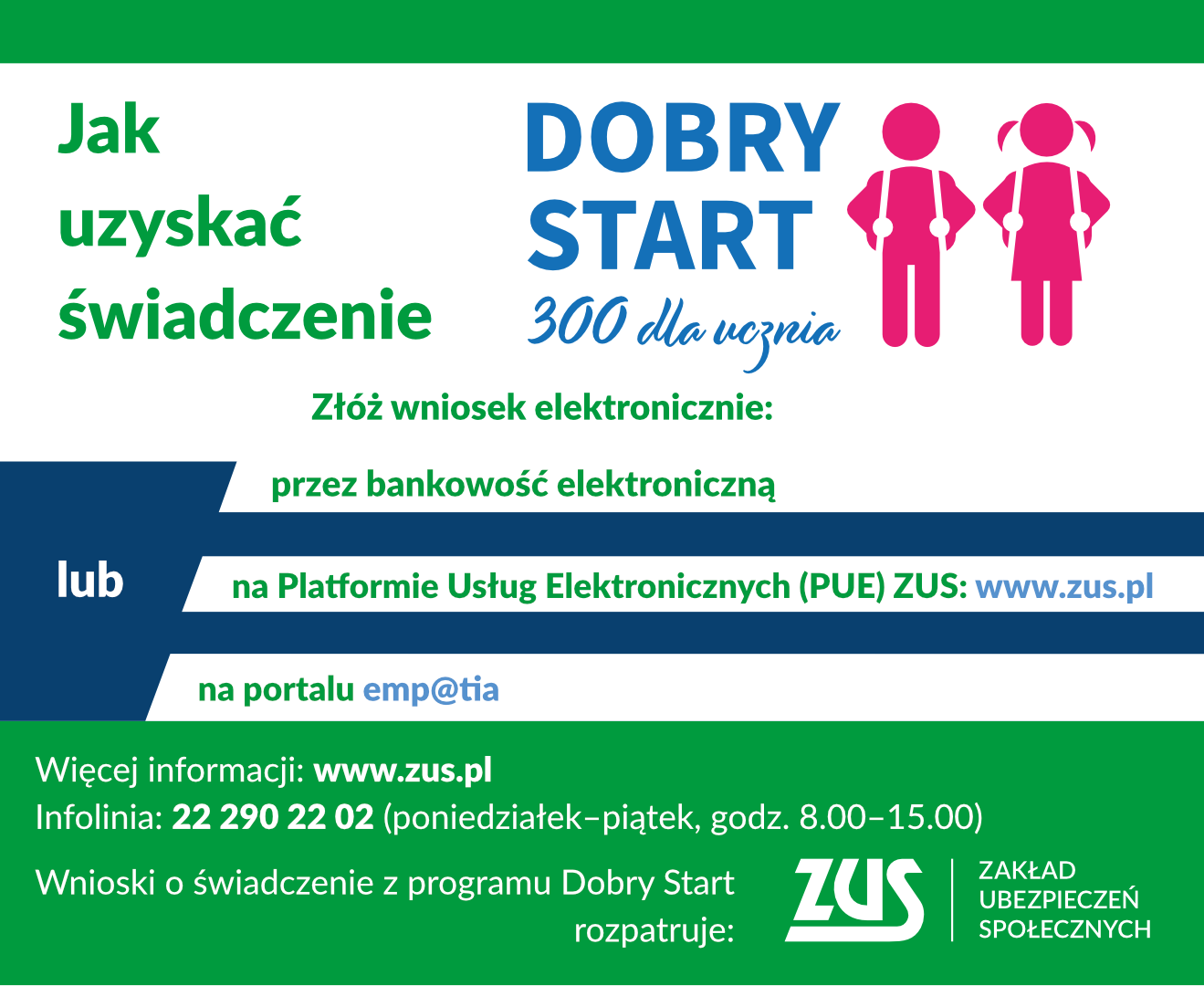 """Ilustracja do informacji: """"Dobry Start"""" z ZUS"""